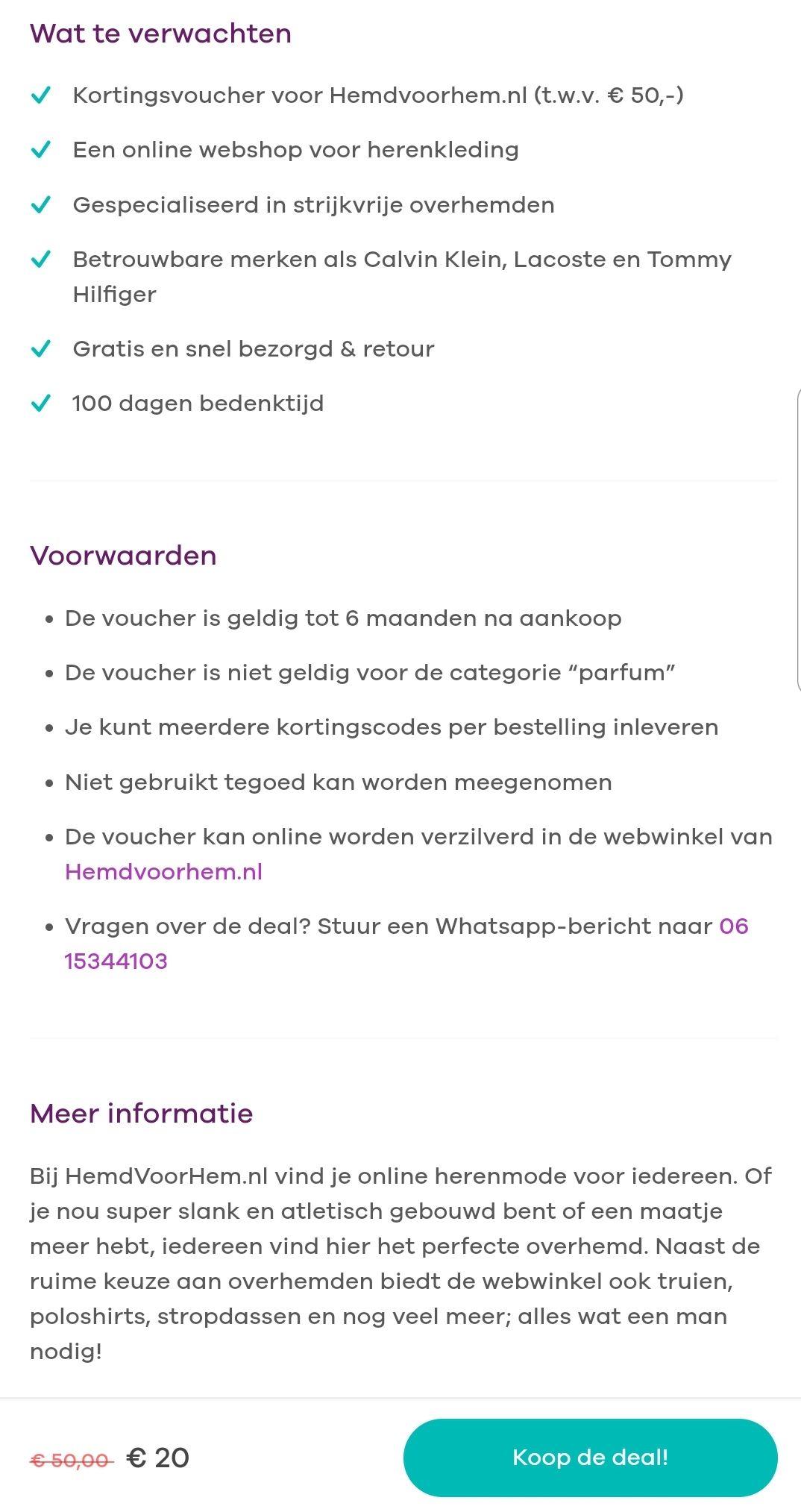 Hemdvoorhem.nl 30% korting op bijna alles + voor 20 euro kadobon t.w.v 50 euro.