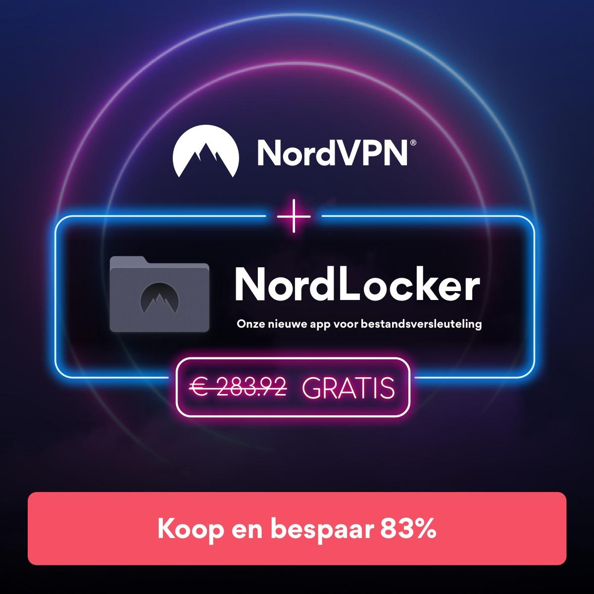 3-jarig NordVPN-abonnement voor € 3.17/maand + 3 maanden extra + NordLocker GRATIS