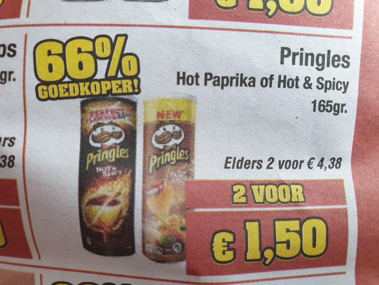 2 bussen pringles voor €1,50 bij budgetfood