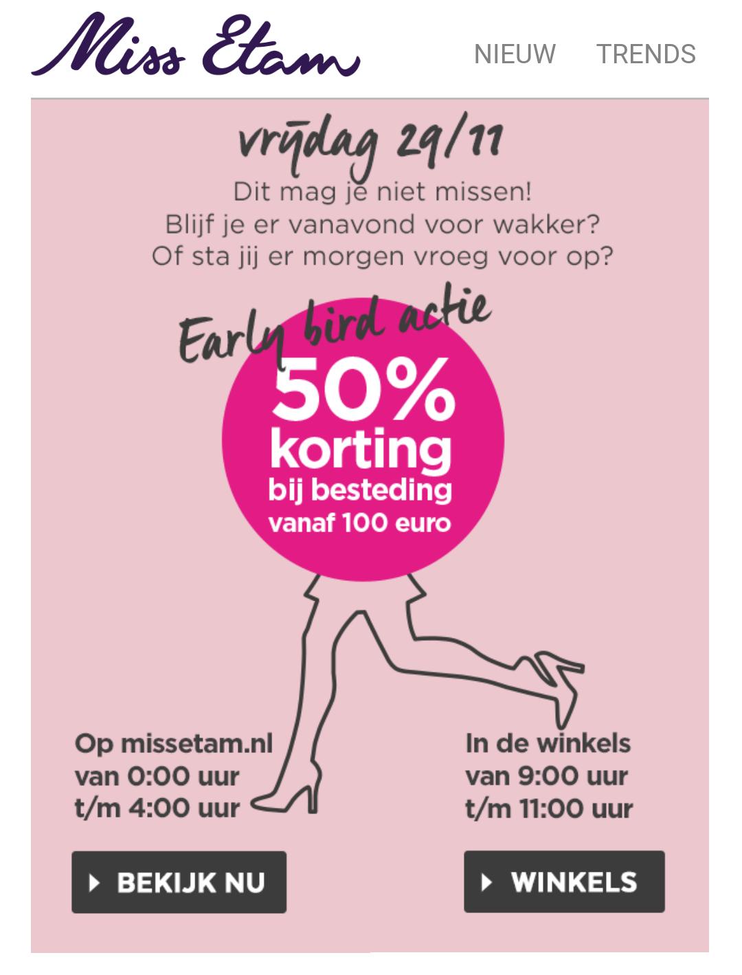 Black Friday Miss Etam Sale: 50% korting op alles bij besteding vanaf €100