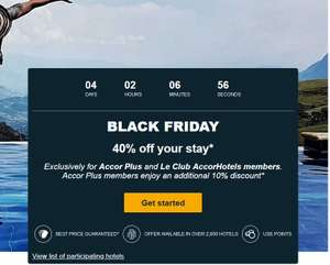 Black Friday: 40% korting op hotelovernachting Accor hotels (Ibis, Mercure, Novotel, etc)