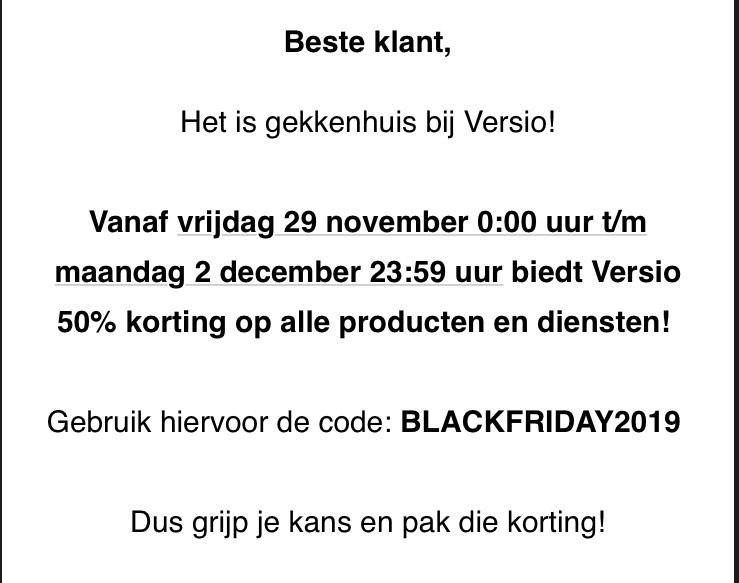 Versio black Friday korting