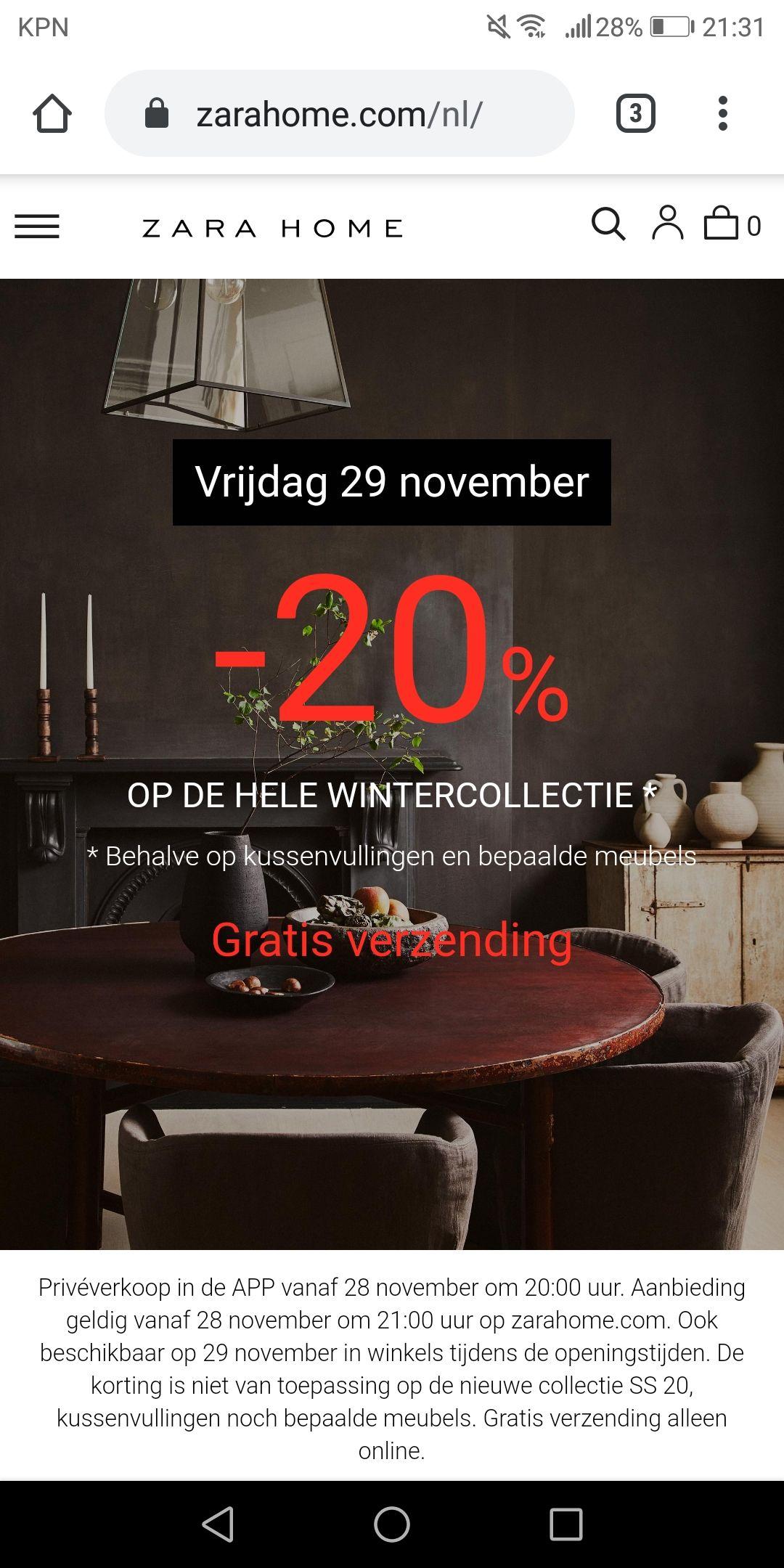 20% korting op wintercollectie bij ZaraHome (BF