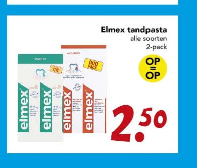Elmex 2 tubes voor €2,50 bij Deen & 1+1 bij Etos