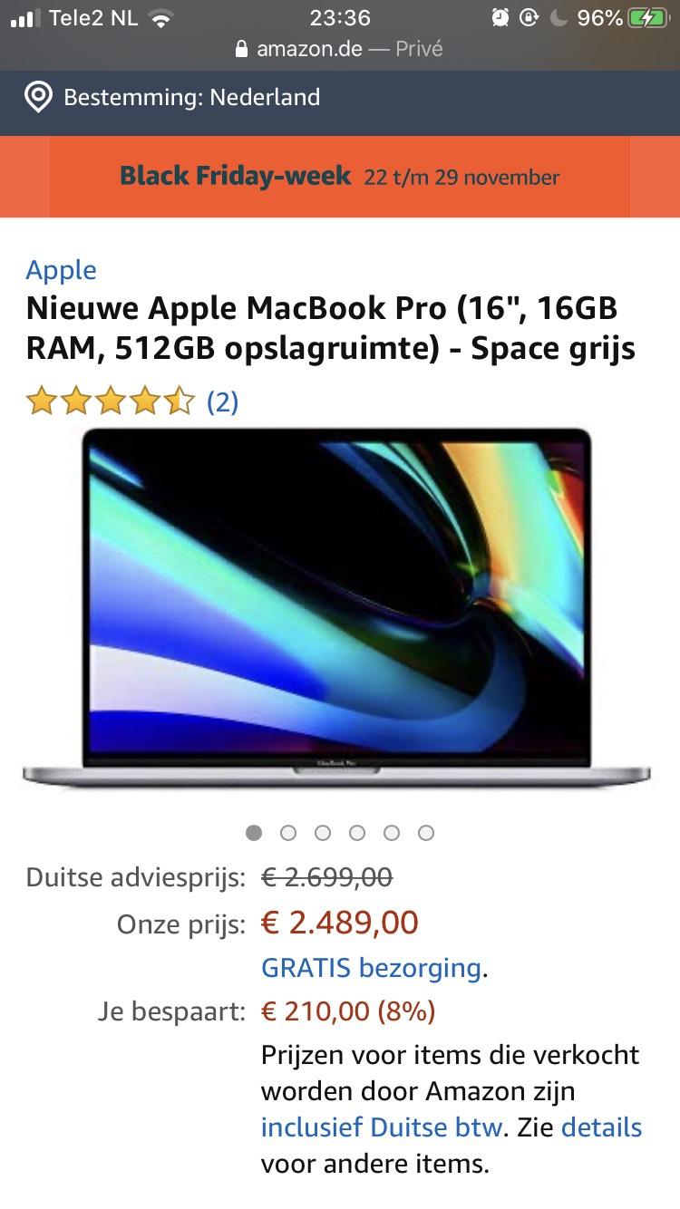 """""""Nieuwe"""" MacBook Pro 16"""" + cadeaubon €200"""