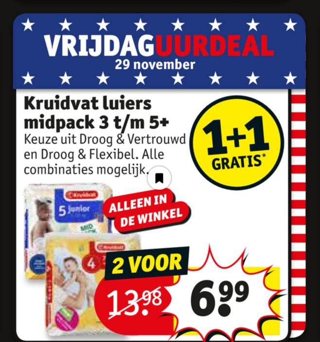 09:00 - 10:00 uur Kruidvat luiers 1+1 gratis in winkels @ Kruidvat