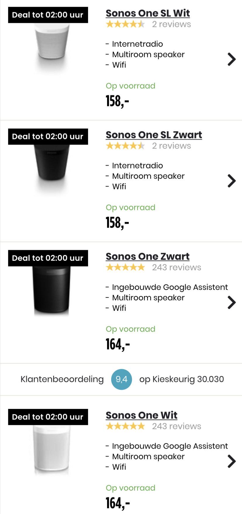 Sonos One € 164 | one SL € 158 tot 02.00 uur