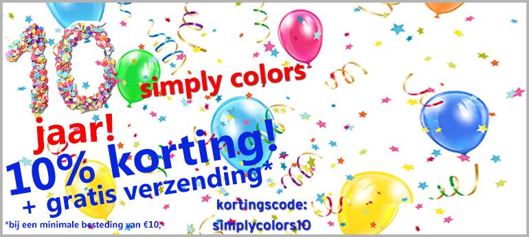 10% korting + gratis verzending (va €10) @Simplycolors