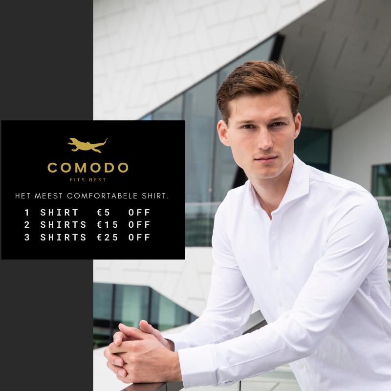 Tot €25 black friday korting op het meest comfortabele shirt @ Comodo shirts