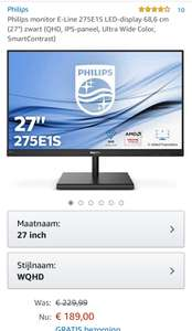 "Philips monitor E-Line 275E1S LED-display 68,6 cm (27"") zwart (QHD, IPS-paneel, Ultra Wide Color, SmartContrast)"