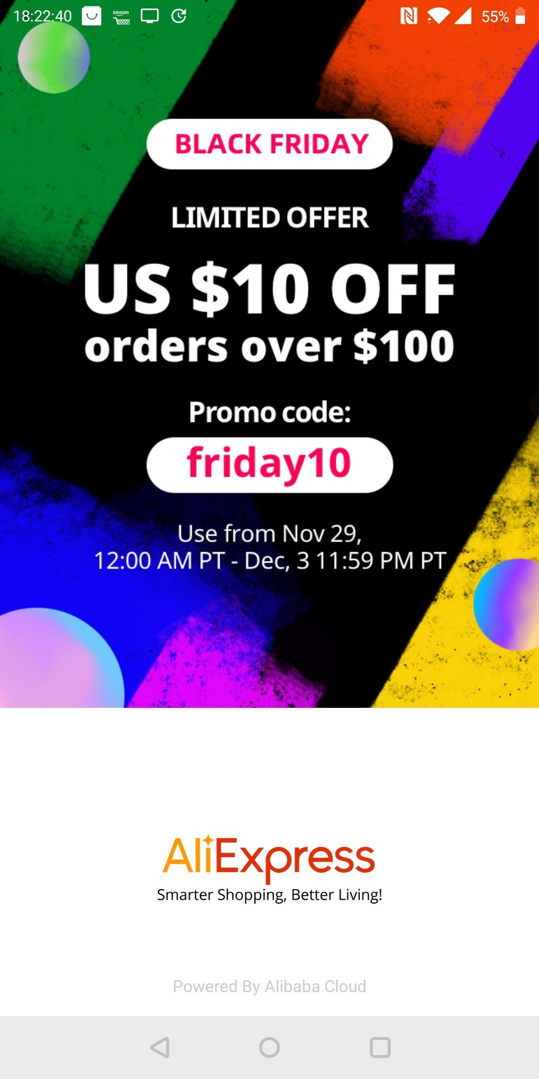 $10 (€8,85) korting bij aankoop van $100 bij AliExpress. Te combineren met andere kortingen!