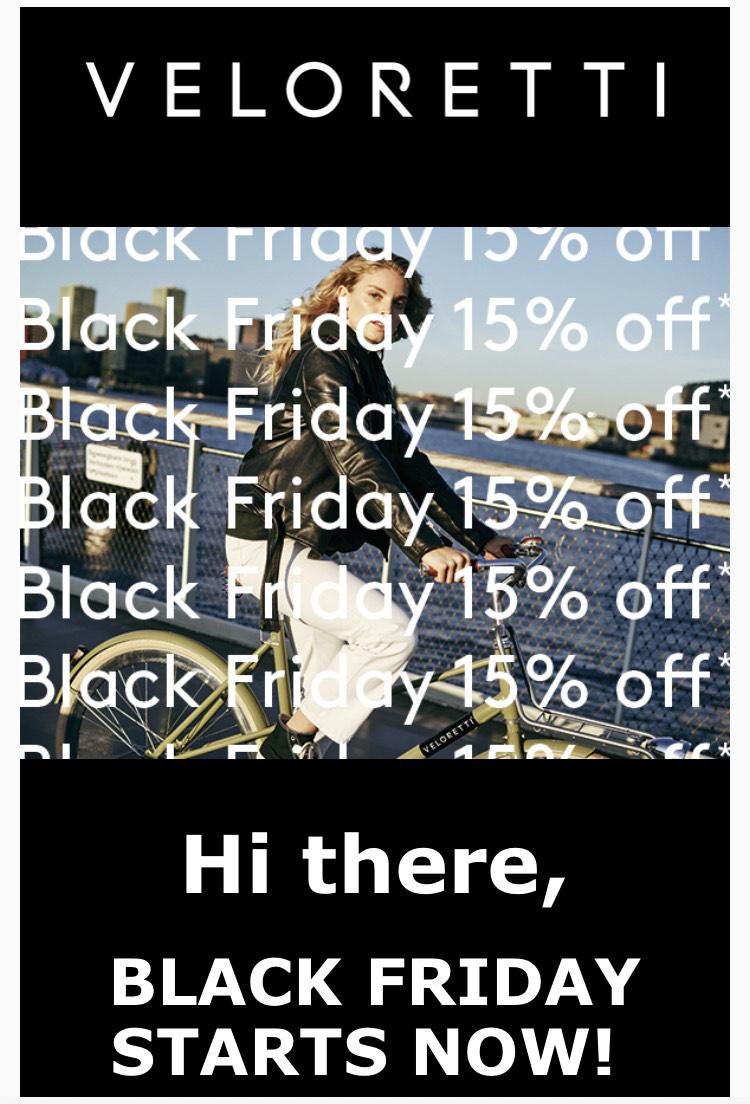 BLACK FRIDAY 15% korting op je totale bestelling bij Veloretti