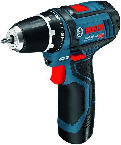 Bosch Professional GSR 12 2-Li Accu schroefboormachine met 39-delig set accessoires, 2 x accu 2,0 Ah, oplader in tas, 12V
