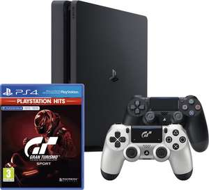 PlayStation 4 Slim 500GB + Gran Turismo GT Sport + 2 Wireless Dualshock 4 V2 Controllers