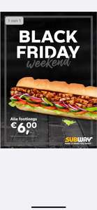 Black Fridaydeal: alle Footlong subs €6,00