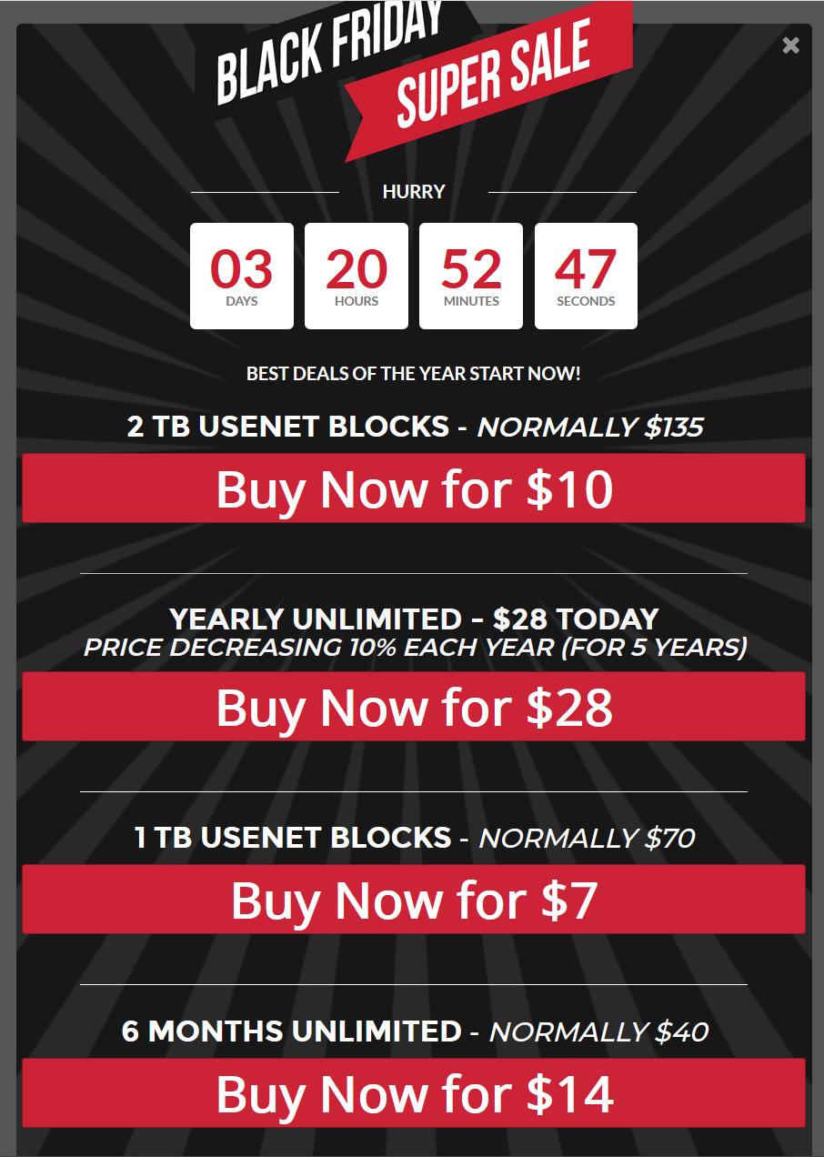 Black Friday: $28/jaar Unlimited Usenet met SSL bij NewsGroupDirect
