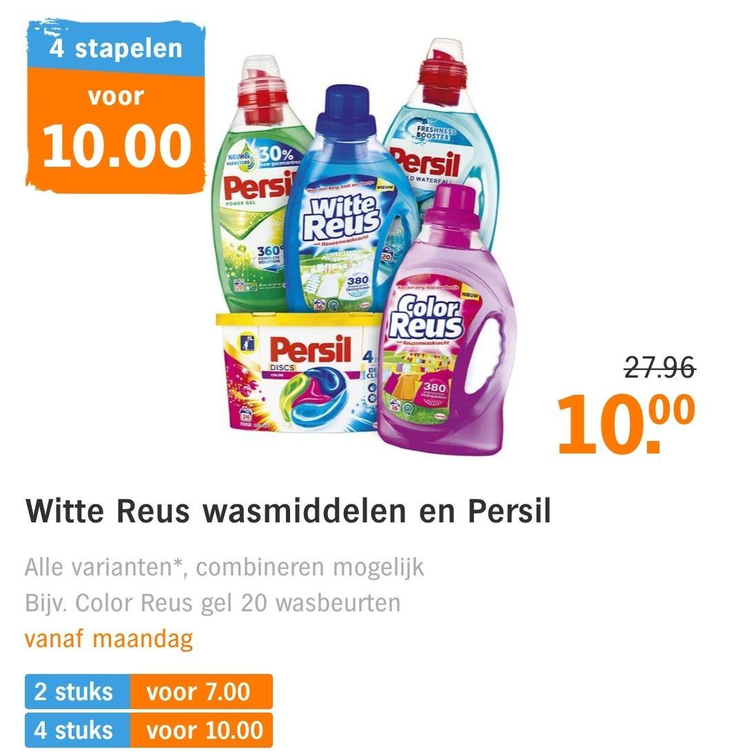 Color Reus en Persil wasmiddelen 4 voor €10 @ Albert Heijn