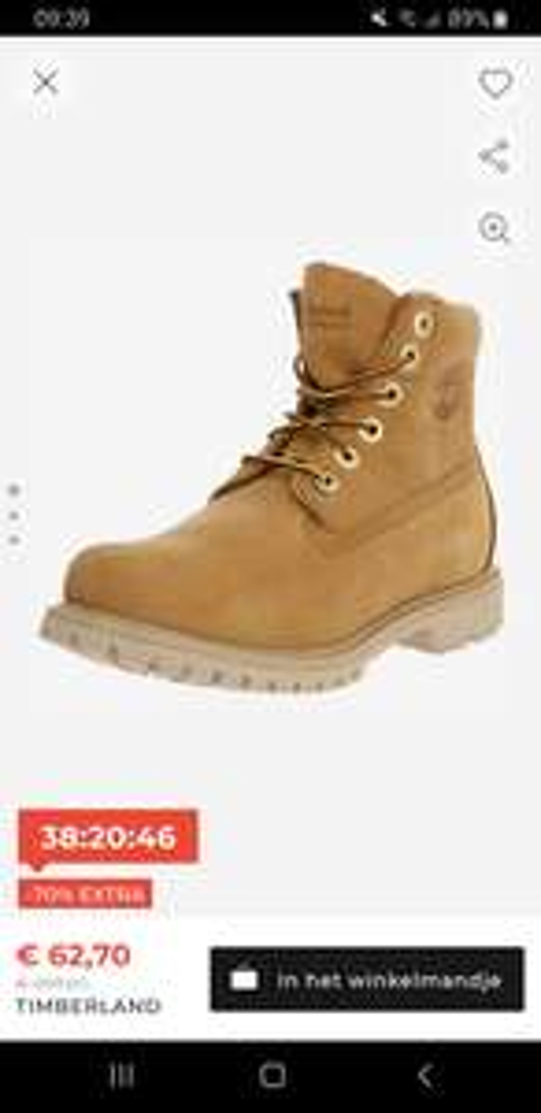 Timberland boots 70%korting