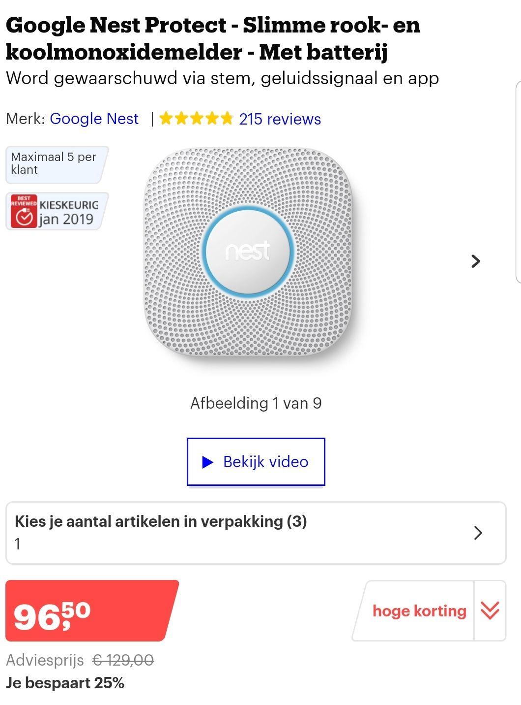 Google Nest Protect €96,50 @ Bol.com