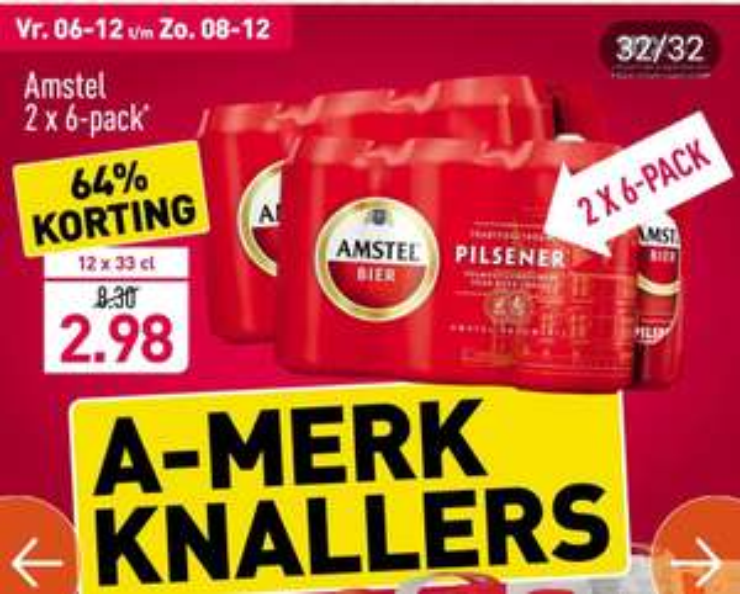 Amstel bier 2x 6 pack bij Aldi