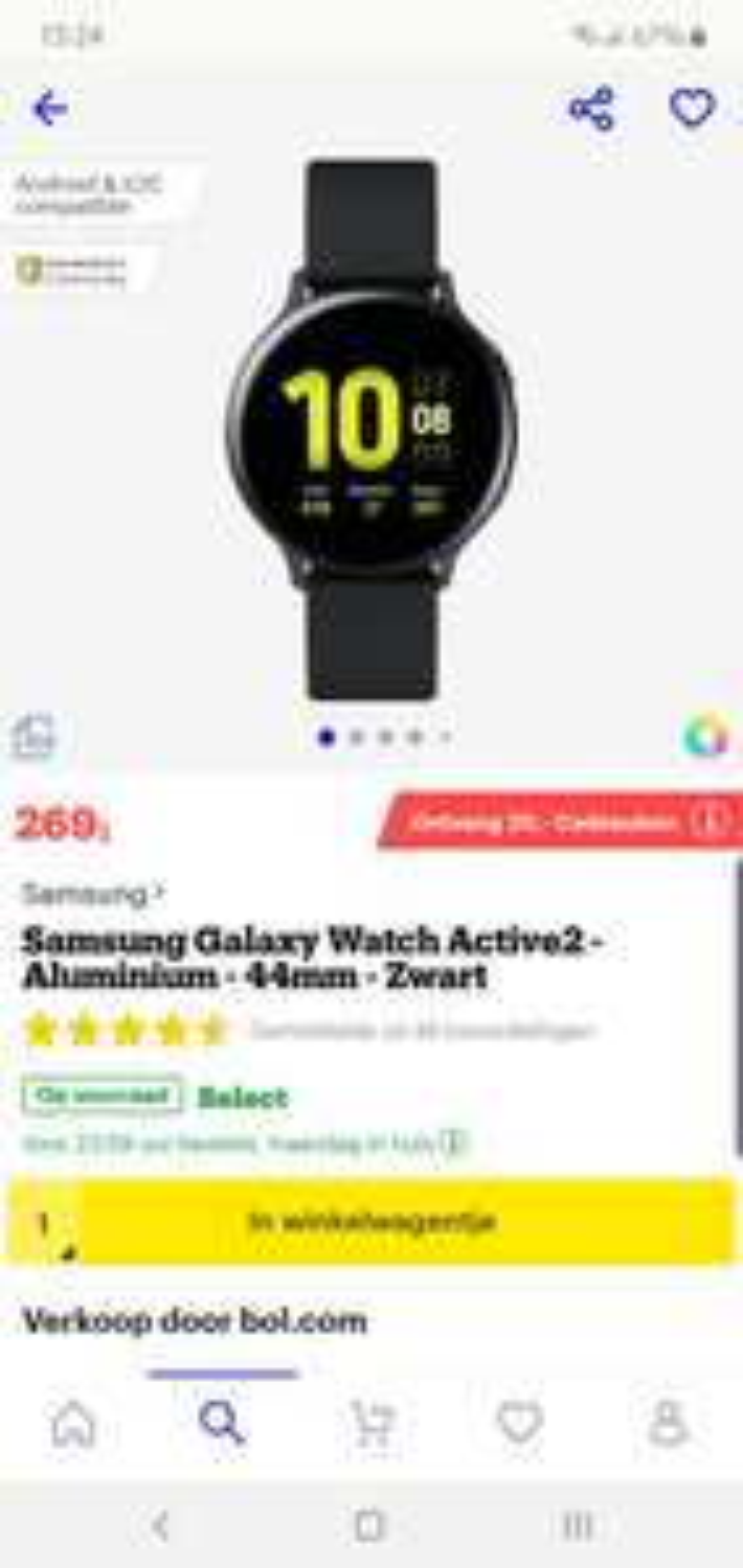 Samsung galaxy watch Active2 44mm Sport + €20,- cadeau
