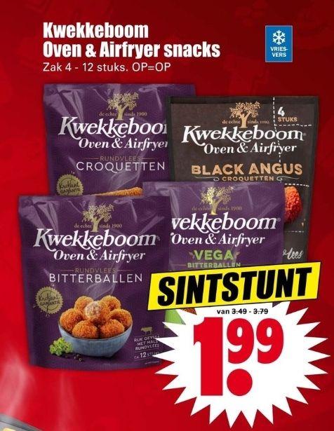 Kwekkeboom oven & airfryer snacks 1 pak €1,99 @ Dirk