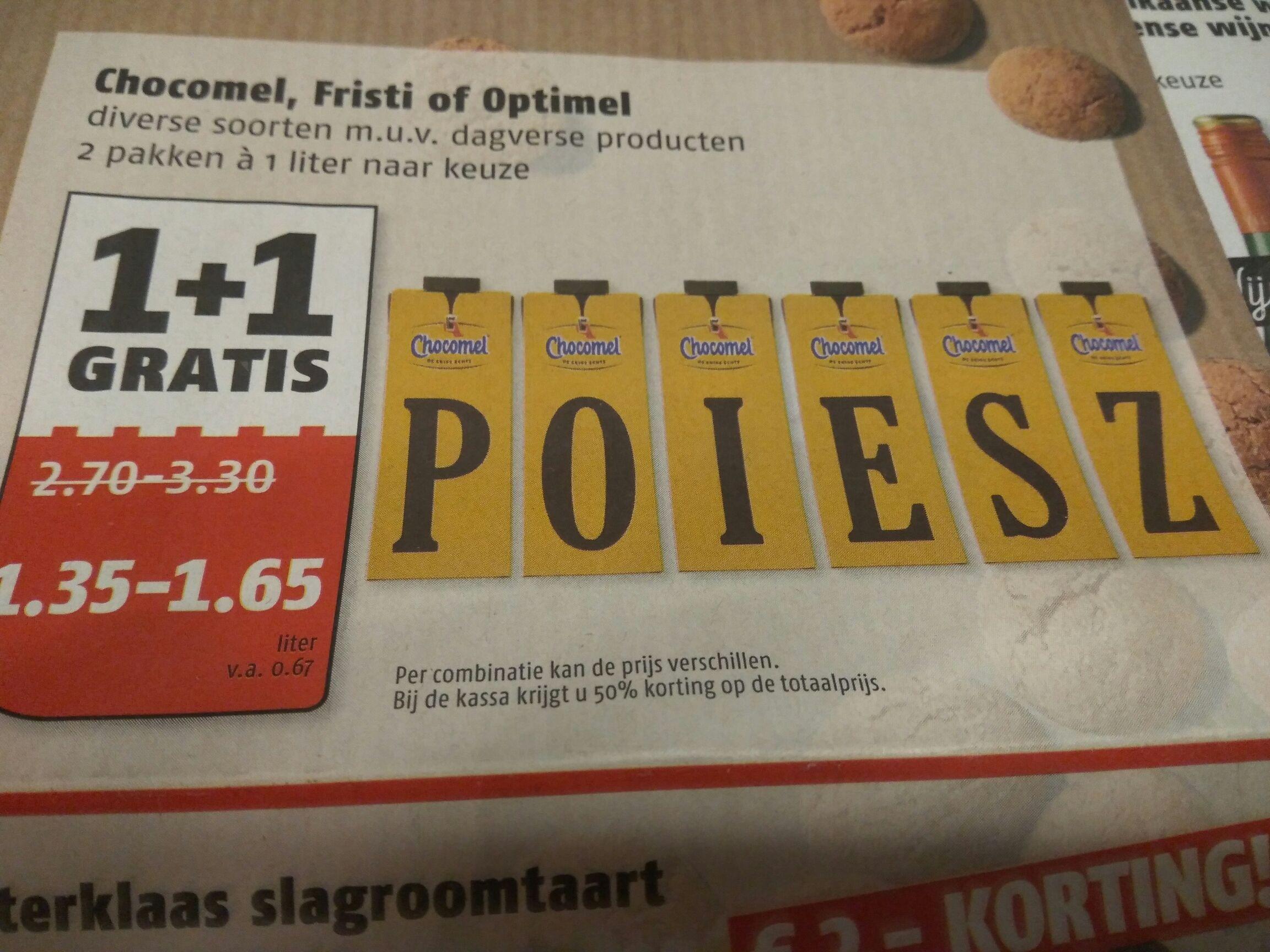 Chocomel, Fristi en Optimel 1+1 gratis @Poiesz