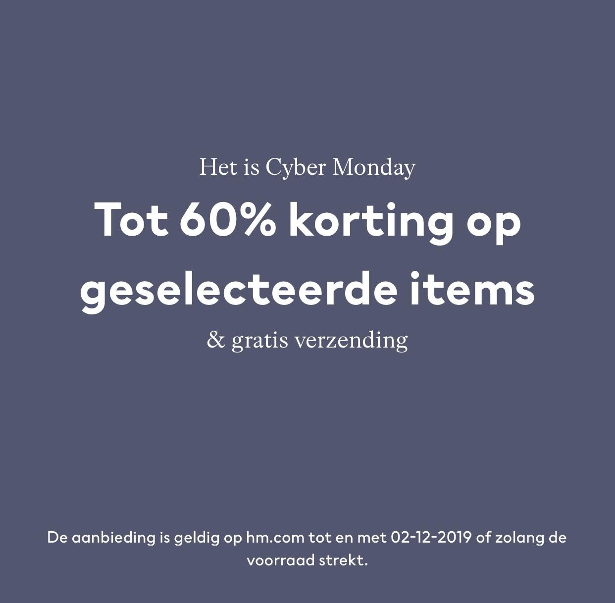 H&M tot 60% korting + gratis verzending