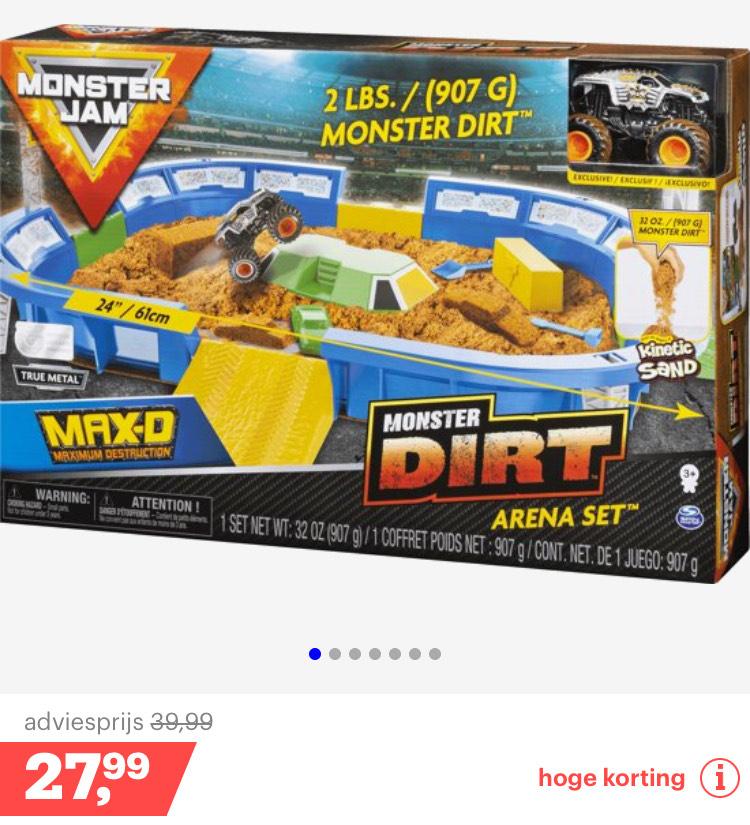 Monster jam dirt arena voor €27,99