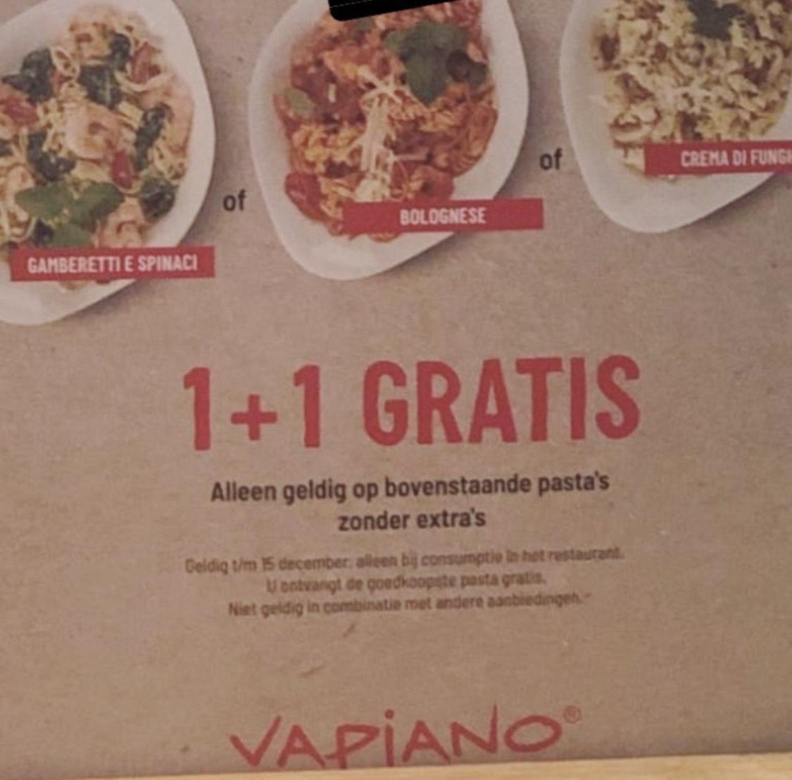 [Groningen] 1+1 gratis op 3 soorten pasta @ Vapiano
