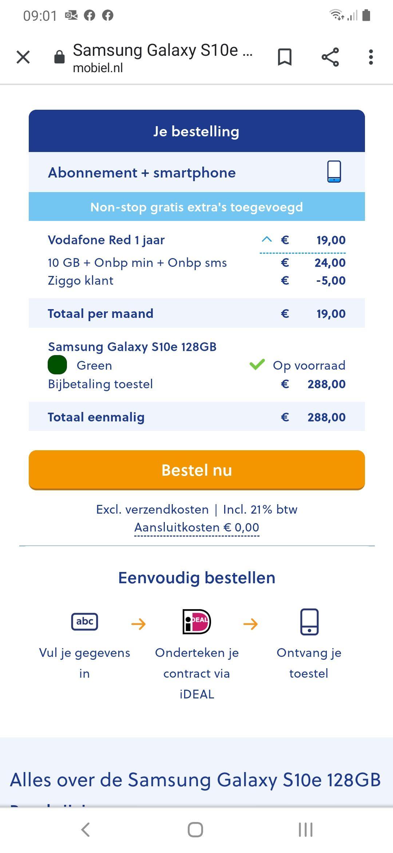 Samsung s10e (€288 + 12mnd €19)