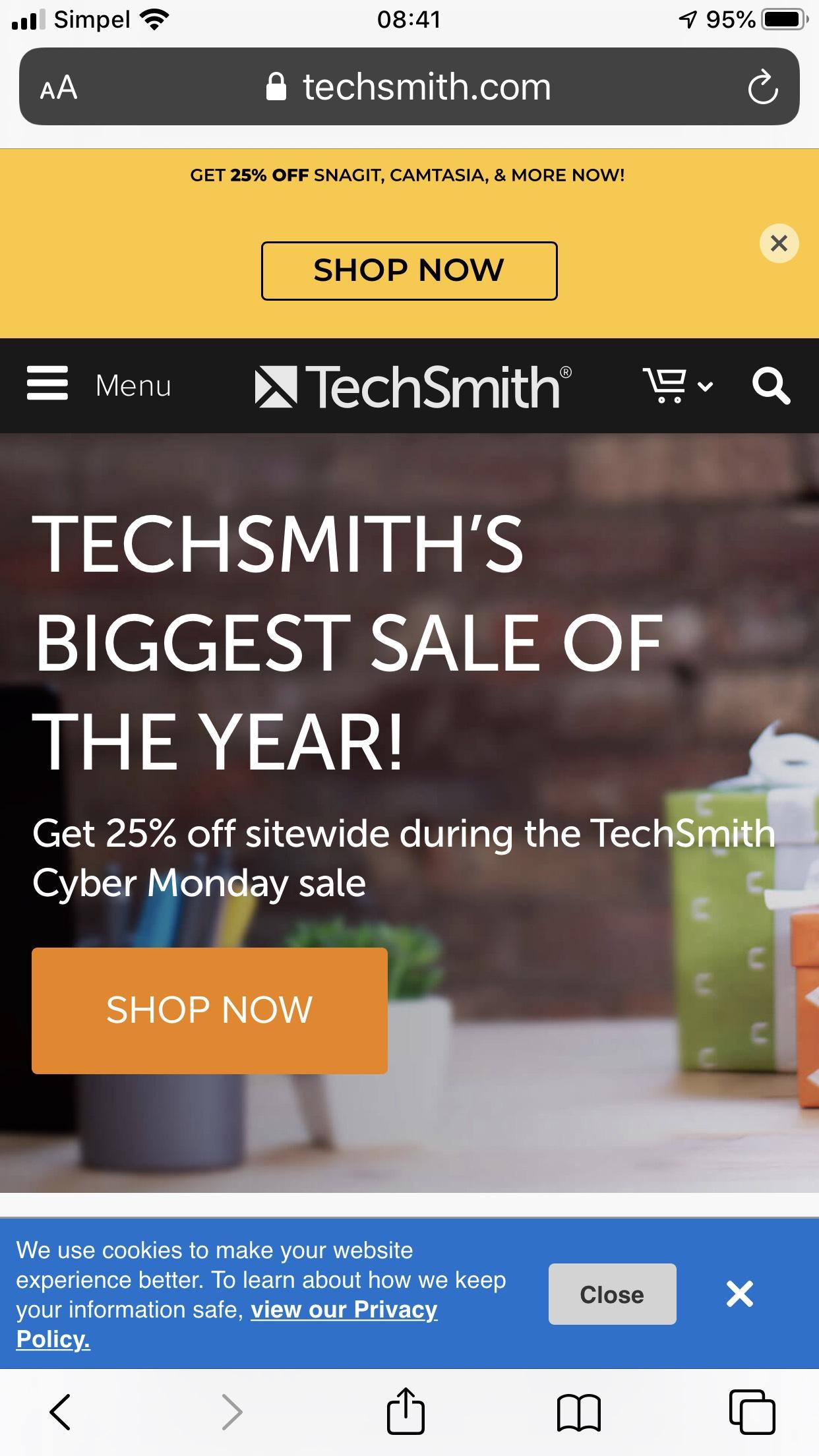 25% korting op software van Techsmith
