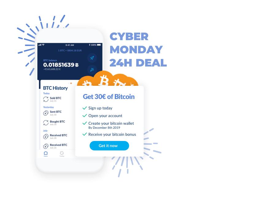 [Gratis geld] Cybermonday 30€ in bitcoin voor nieuwe klanten Bitwala