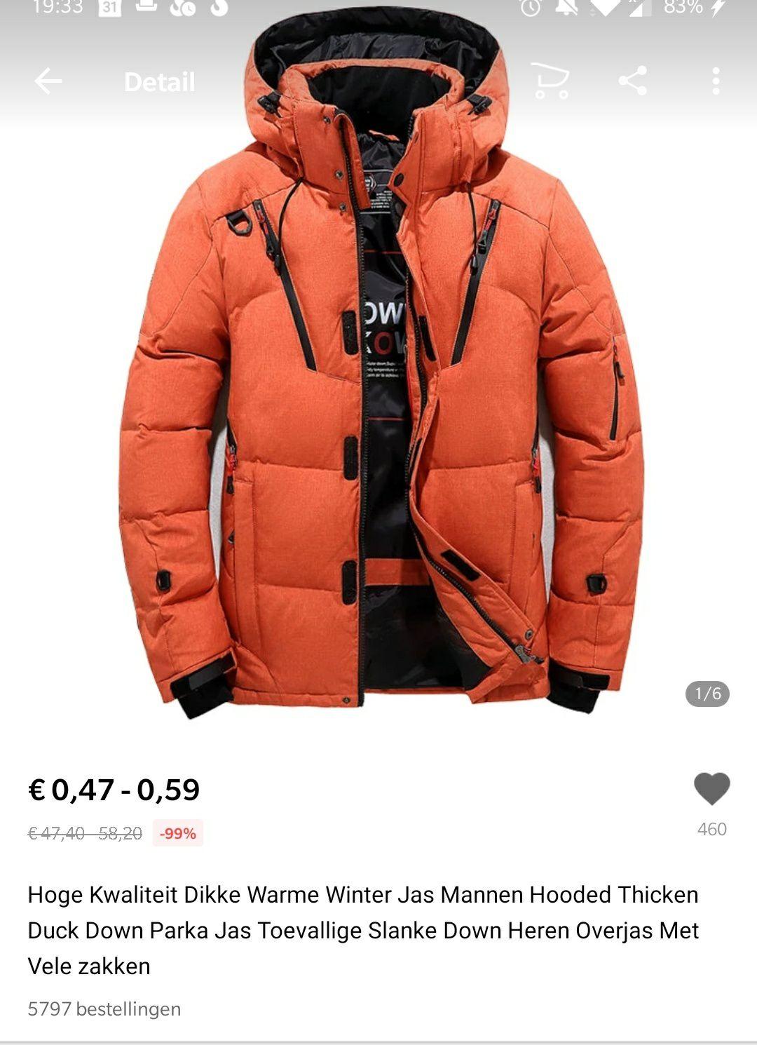 [Prijsfout] Winterjas voor €0,47 @ AliExpress