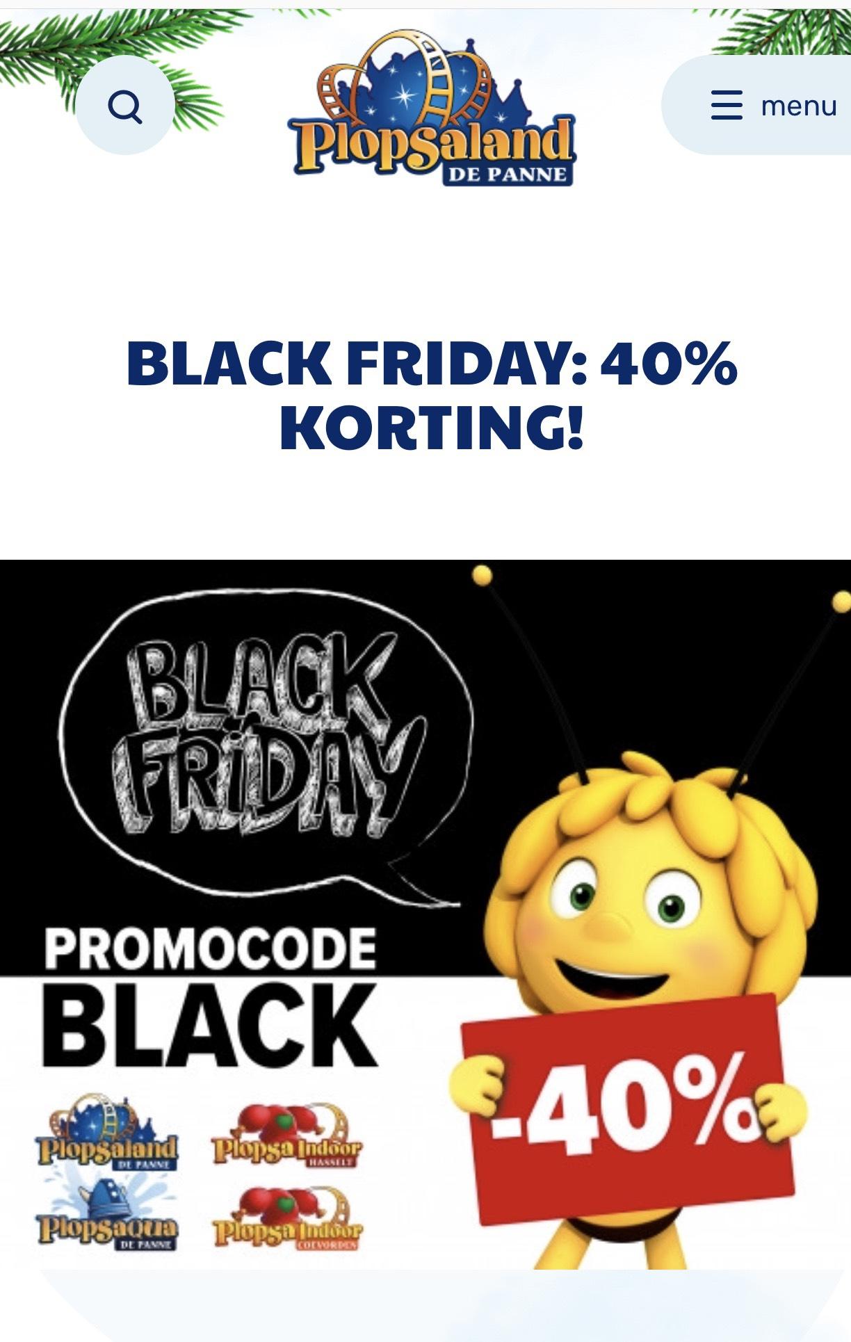 Black friday 40% korting bij Plopsaland