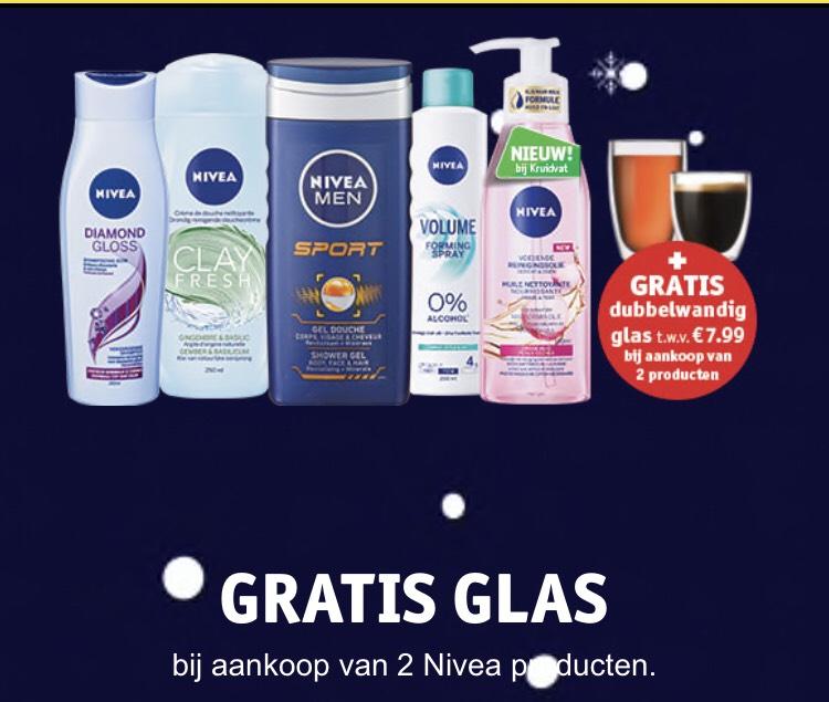 Kruidvat nivea actie! Gratis dubbelwandig glas t.w.v €7,99 bij 2 actie producten.