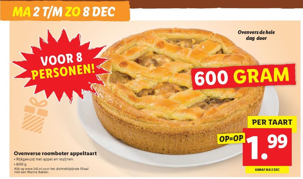 ovenverse 600 grams roomboter appeltaart (8 personen) voor €1,99 @ lidl winkels met warme bakker