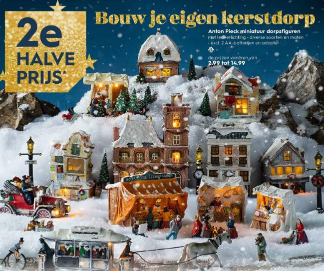 2e halve prijs op alle anton pieck kerstdorpinrichting @ blokker (winkels)