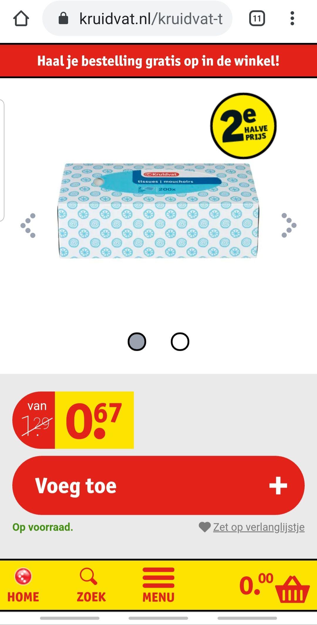 Kruidvat tissuebox met 200st voor 50 cent