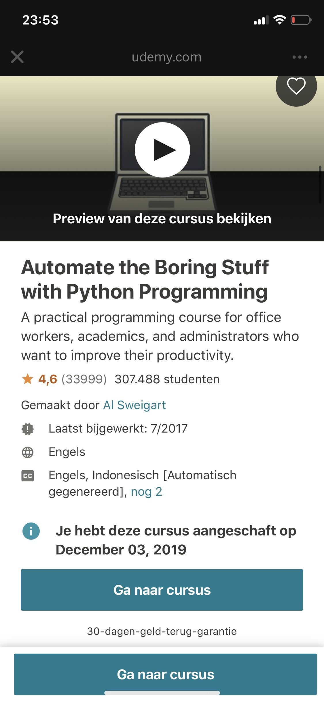 Udemy python courses met korting en gratis