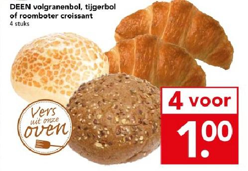 4 verse croissants, volgranenbollen of tijgerbollen voor € 1 @ Deen