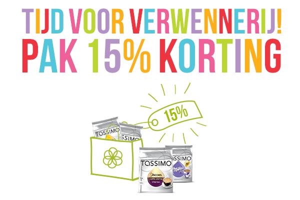 15% korting bij besteding van €45 @ TASSIMO Shop