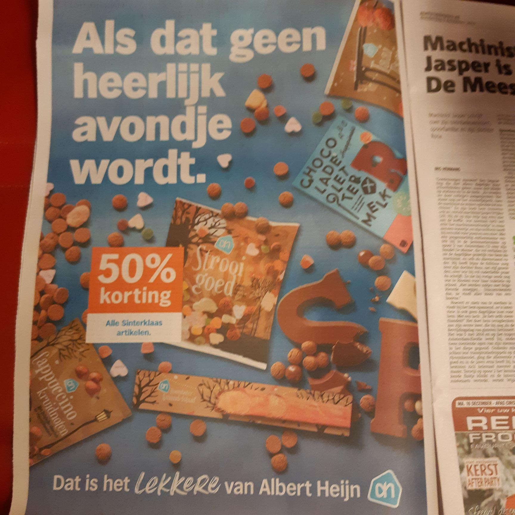 50% korting op alle Sinterklaas artikelen @ Albert Heijn