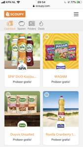 Gratis Duyvis nootjes + Spa duo + Maoam + Rivella @ scoupy