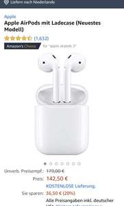 Airpods 2 bij Amazon.de