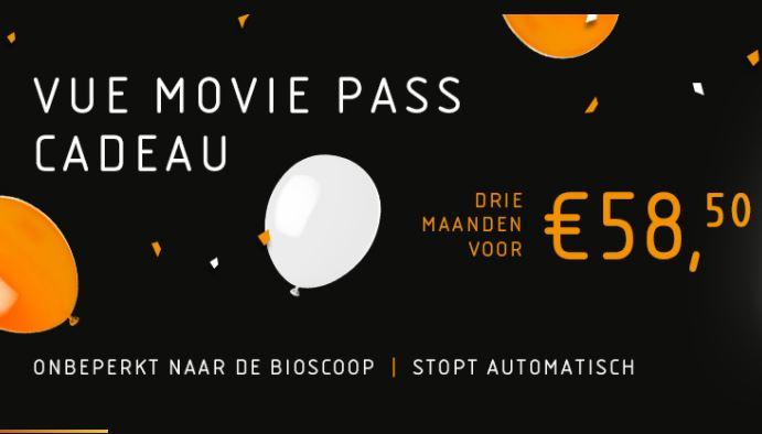 3 maanden onbeperkt film kijken --> Vue Movie Pass voor €58,50 (stopt automatisch)