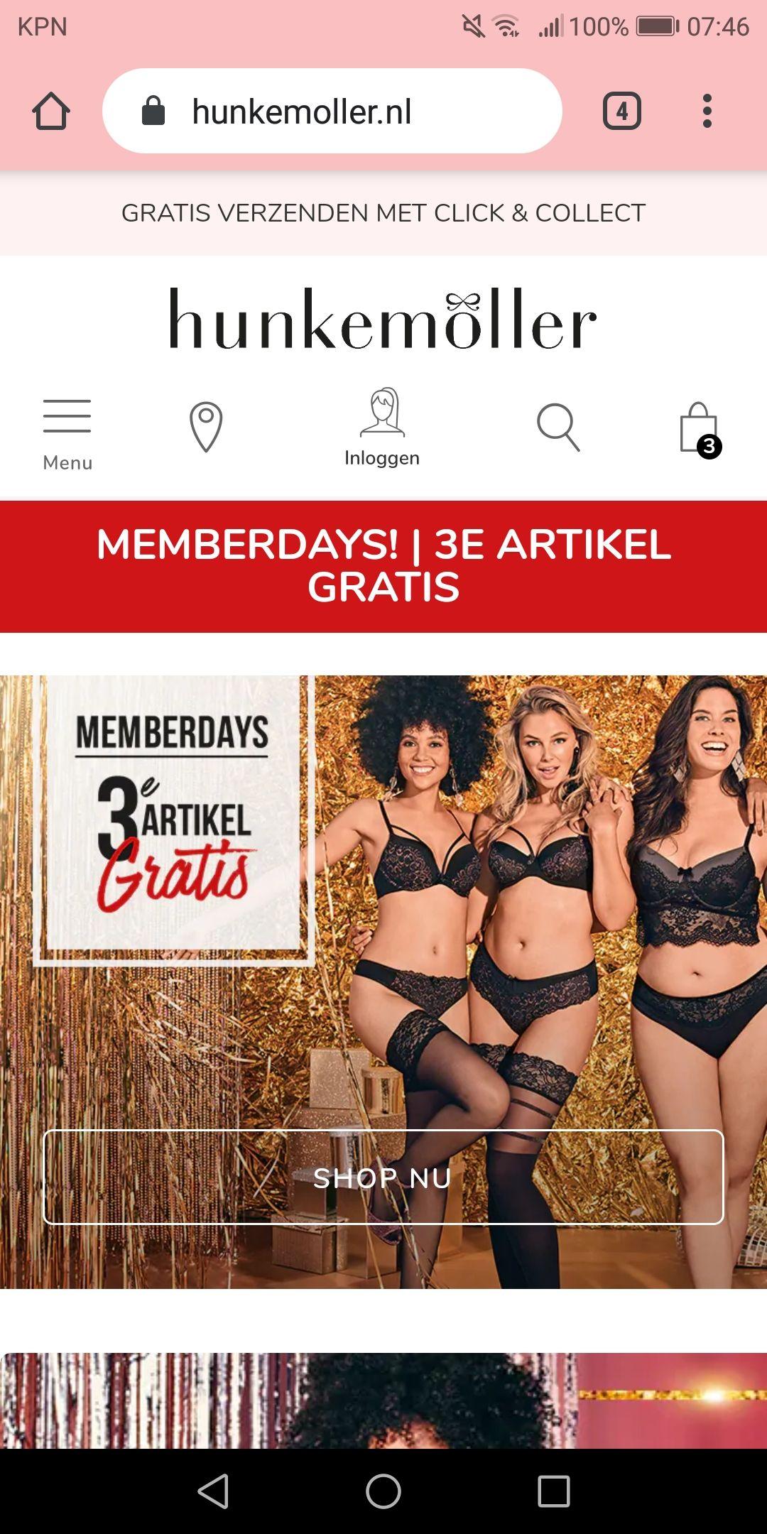 Hunkemöller member days: 3e artikel gratis + 15% extra met code