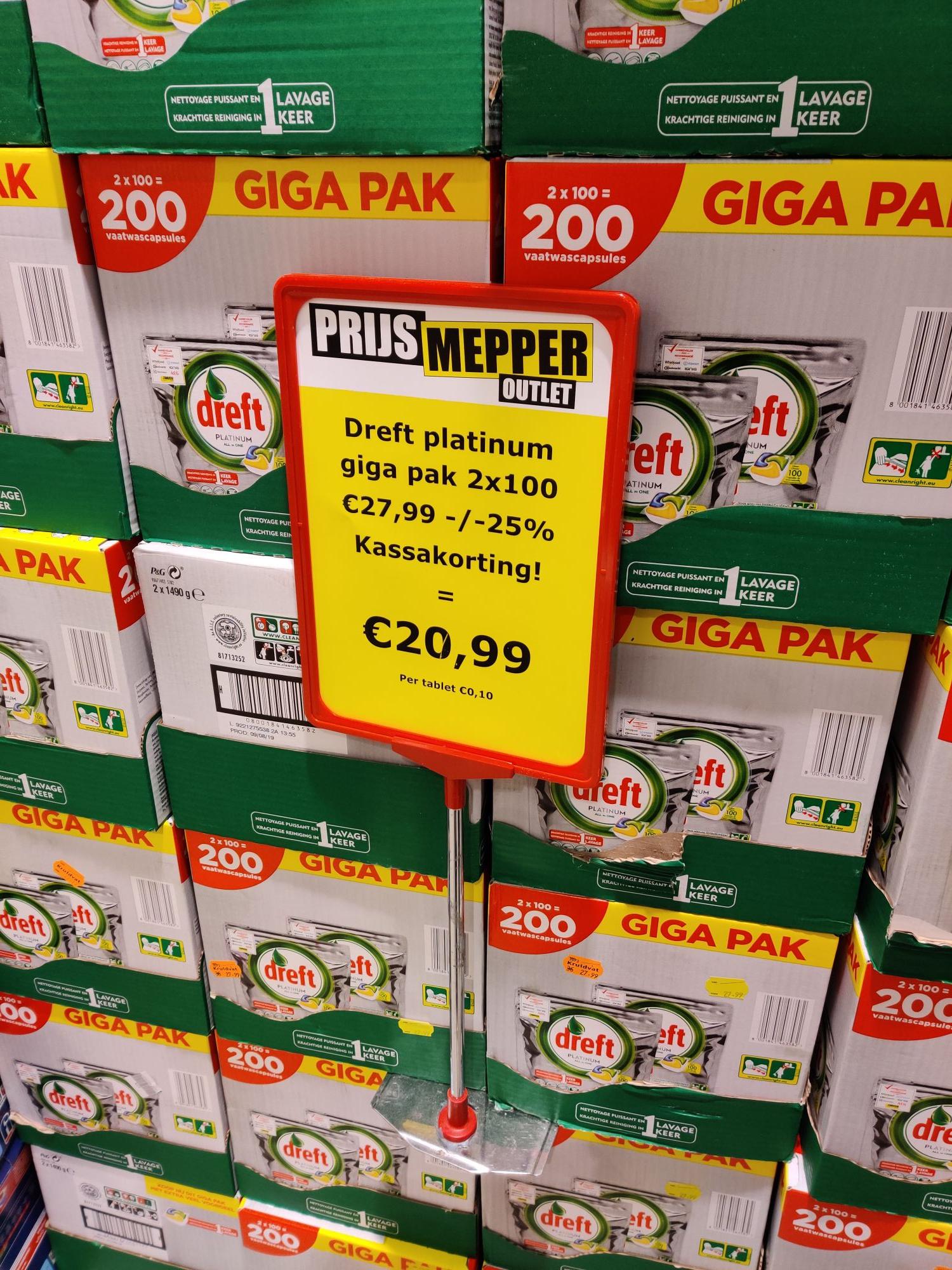 Prijsmepper, 200 dreft platinum vaatwastabletten voor 20,99