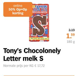 50% korting op Tony's Chocolonely letters