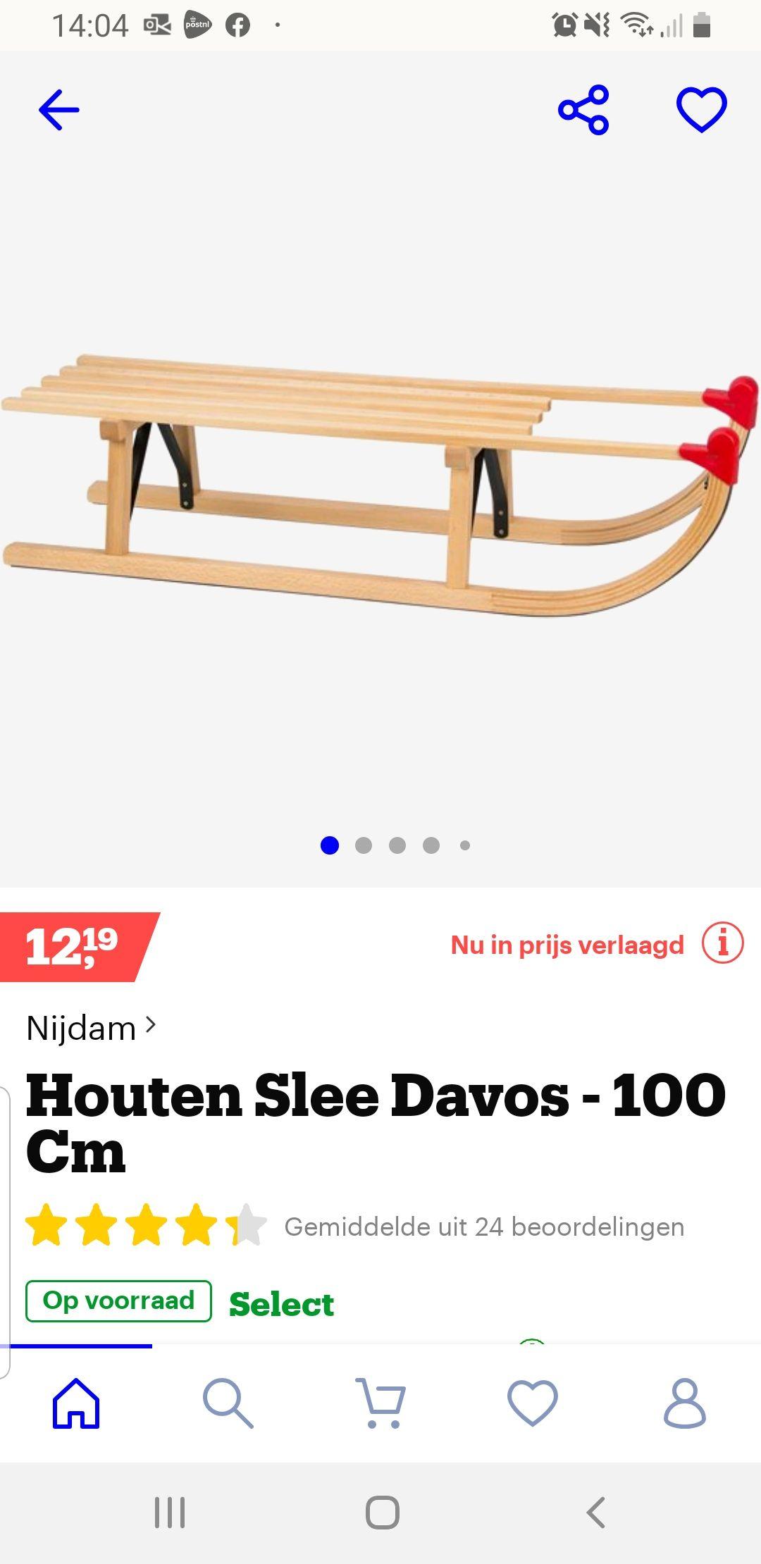 Houten slee 100 cm